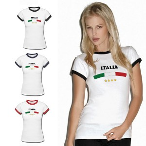 Italy-Flag-For-2014-Football-World-Cup-Design-Cotton-Cheap-Printed-T-Shirts-For-Women-Ringer