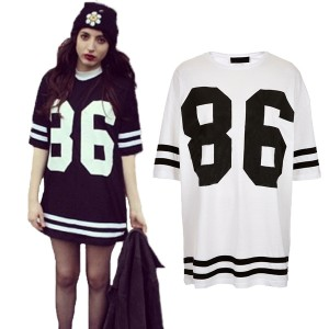 New-Fashion-Women-Celeb-Plus-Size-86-American-Baseball-Tee-T-shirt-Top-Loose-Fit-Short